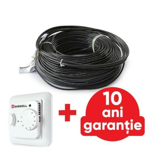 Kit - Cablu de incalzire electrica Falcon U-Heat 420 W - 24,0m (18 W/m ) + Termostat manual U-HEAT, cu senzor de temperatura
